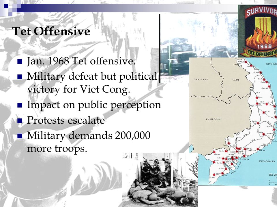 additional information about the 1968 tet offensive Tet offensive the tet offensive was a military campaign during the vietnam war that was launched on january 30, 1968 by forces of the people's army of vietnam against the forces of the republic of vietnam (south vietnam), the united states, and their allies.