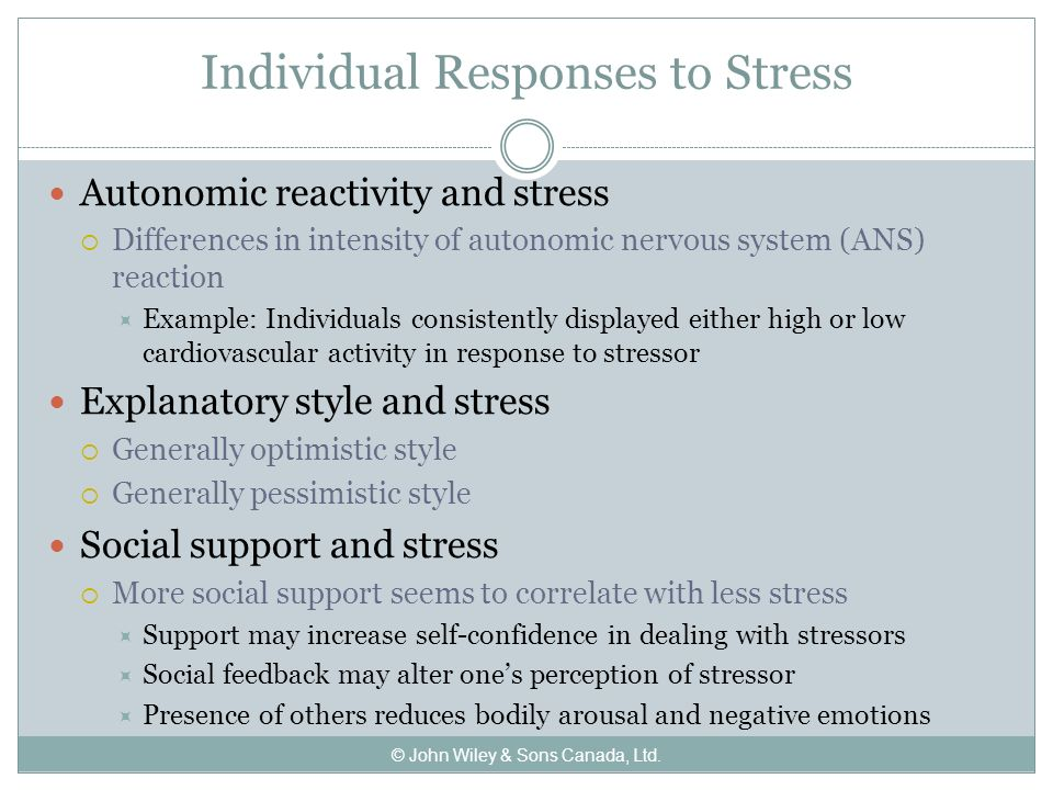 how individuals perceive stress and coping responses Perceived stress also causes changes in the production of the pro-inflammatory cytokines, tnf-α, il-6 and ifn-γ, and negative immunoregulatory cytokines, il-10 and il-4, take part in the homeostatic response to psychological stress and that stress-induced anxiety is related to a t-helper-1-like response.