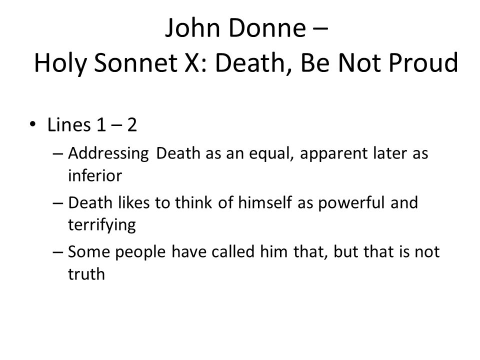 a sonnet about death holy sonnet 10 October 14 2009 - new post john donne: his sonnet ix • forgive & forget may  18, 2009 - john donne & batter my heart, his sonnet may 10,.