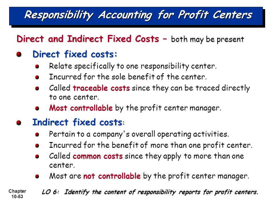 examples of responsibility center in accounting Start studying ch 11 responsibility accounting learn vocabulary, terms, and more with flashcards, games, and other study tools.