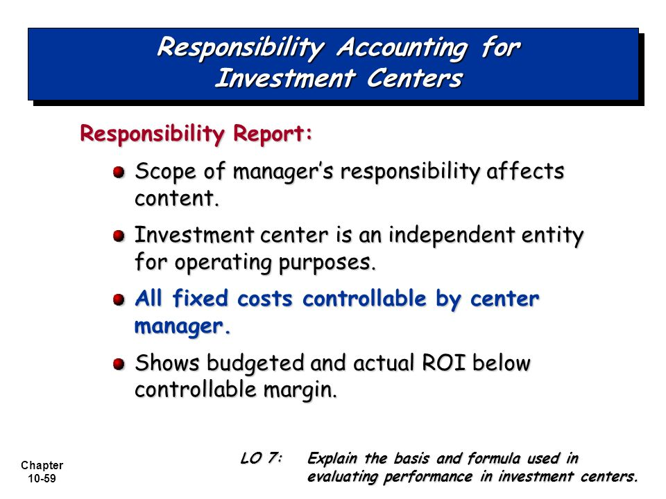 examples of responsibility center in accounting Managerial accounting for dummies by mark p holtzman responsibility  centers are identifiable segments within a company for which individual  managers.