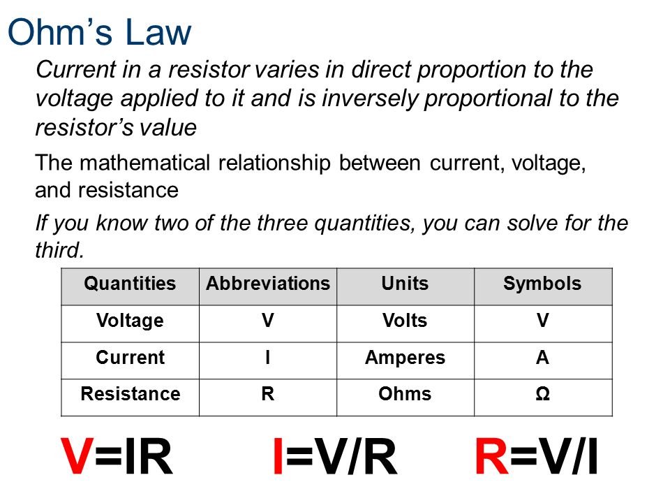 mathematical relationship between voltage current and power