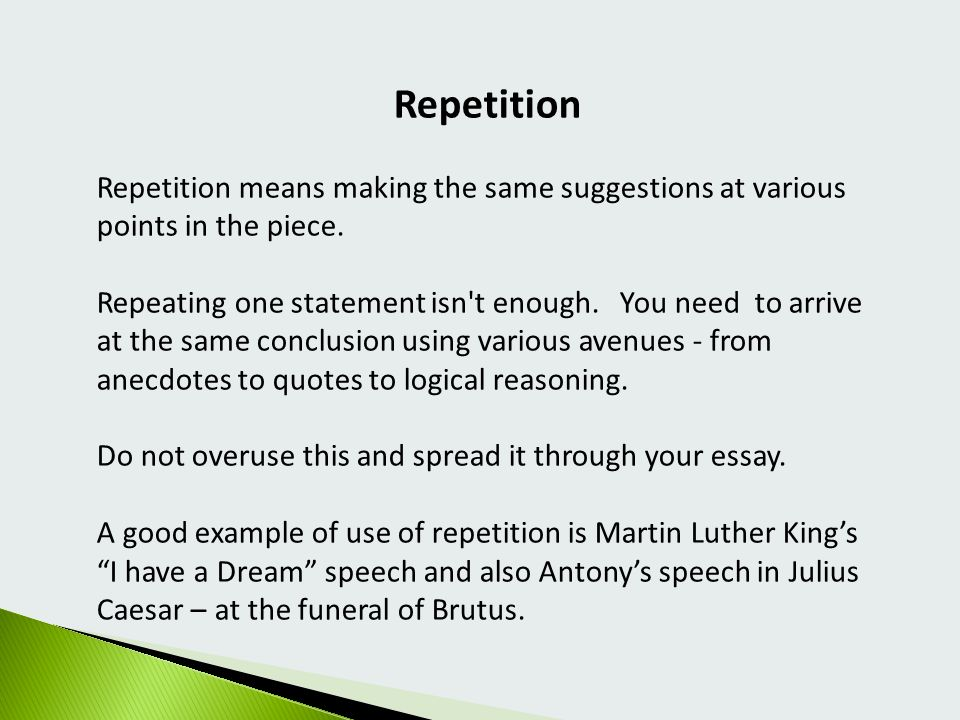 repetition in essays 1 eliminate words that explain the obvious or provide excessive detail always consider readers while drafting and revising writing if passages explain or describe.