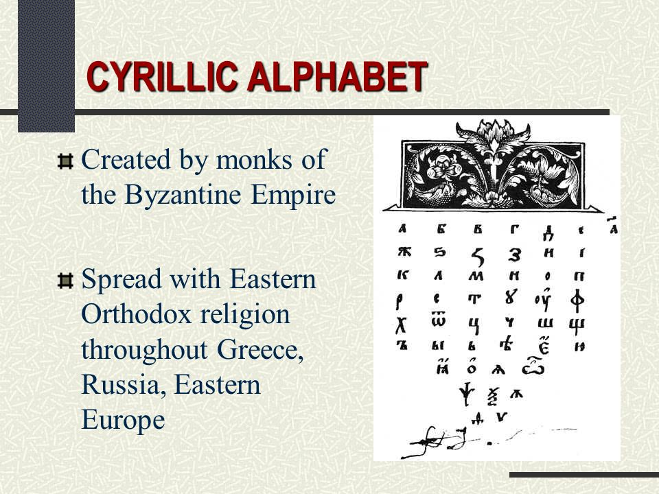 CYRILLIC ALPHABET Created by monks of the Byzantine Empire