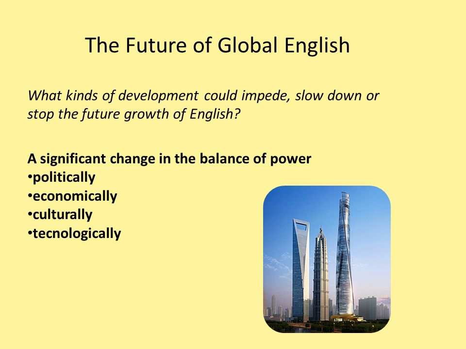 growth and importance english global language english deve Importance of english in the world is immense it helped in the development of technology and communication, spread of education and knowledge, enhanced the extent of businesses etc.