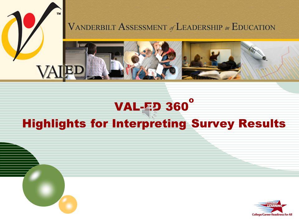 val ed 360o highlights for interpreting survey results ppt video online download. Black Bedroom Furniture Sets. Home Design Ideas