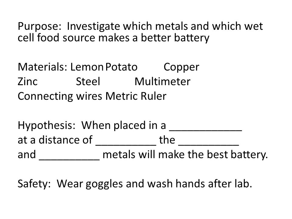 potato battery investigatory project