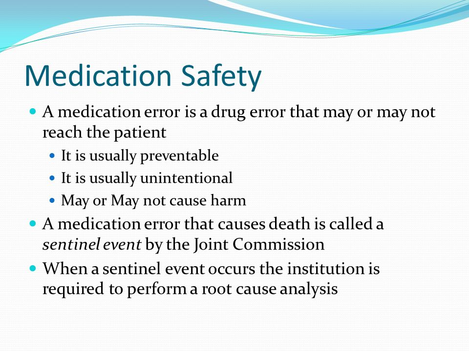 medication error using root cause analysis Start studying chapter 7 medication errors and risk reduction  such drugs may be easily mistaken and cause a medication error  root-cause analysis,.