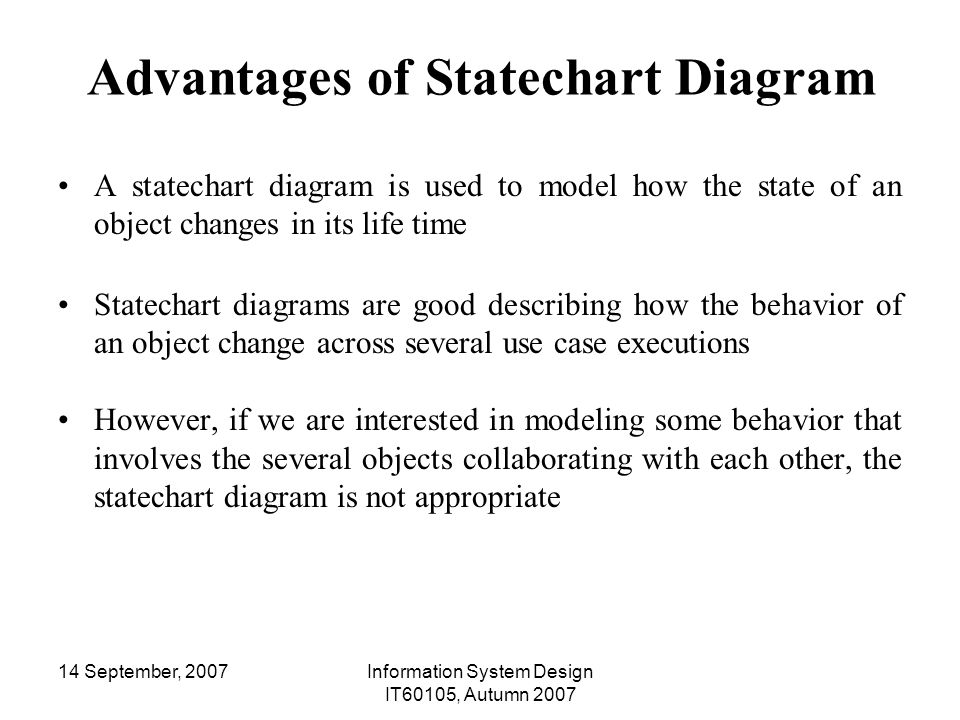 Information system design it ppt download advantages of statechart diagram ccuart Image collections