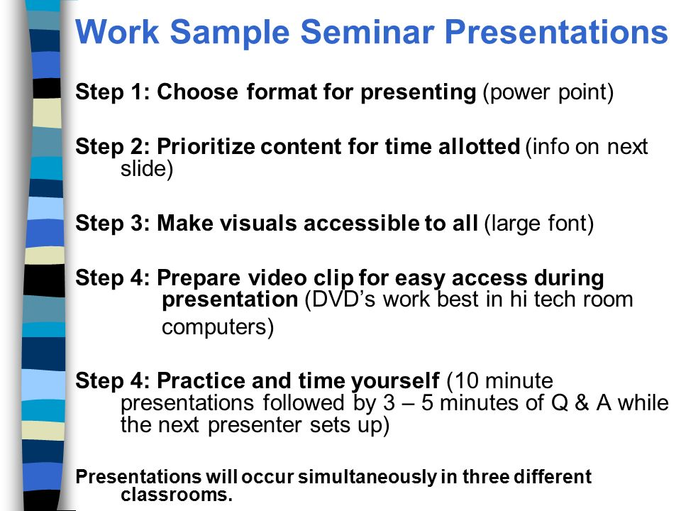 Work Sample Seminar Special Educator Program- Elementary And