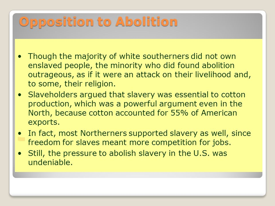 opposition to the spread of slavery Some new yorkers were vocally opposed to the work done by the underground  railroad  the thirteenth amendment to the constitution outlawed slavery  to  spread their movement across the nation with printed materials.