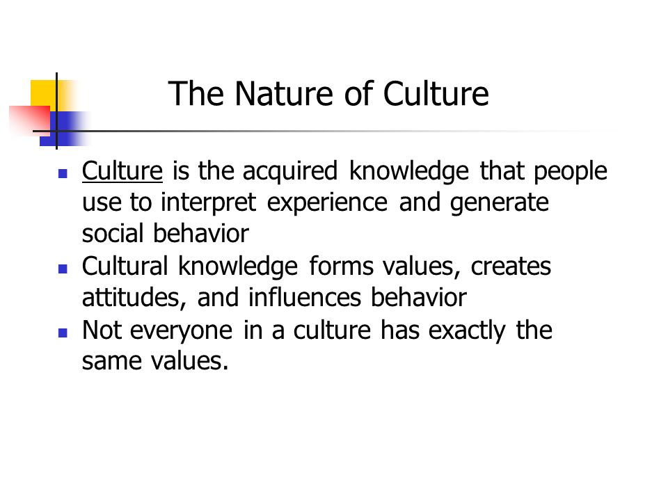 The Nature of Culture Culture is the acquired knowledge that people use to interpret experience and generate social behavior.