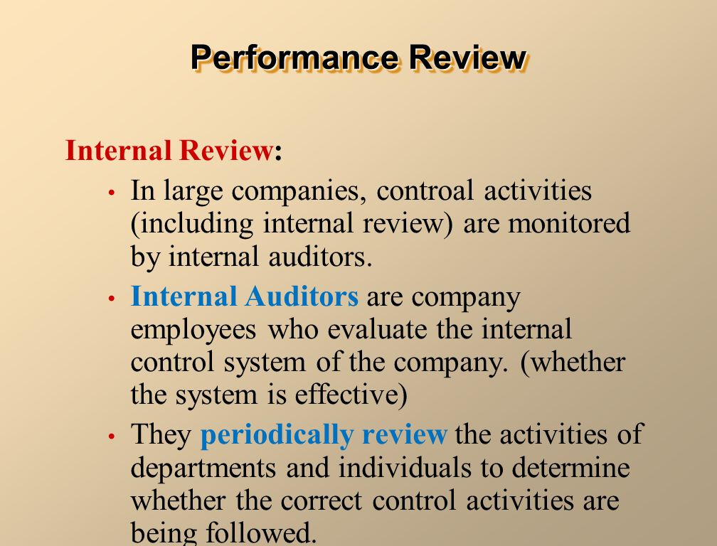 a review of the internal performance More than performance reviews however, a performance appraisal system is more than simply a database for annual performance reviews developing internal talent can.