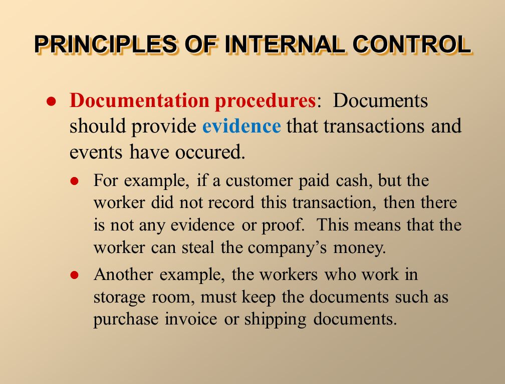 internal control and cash ppt video online download With documents of internal control