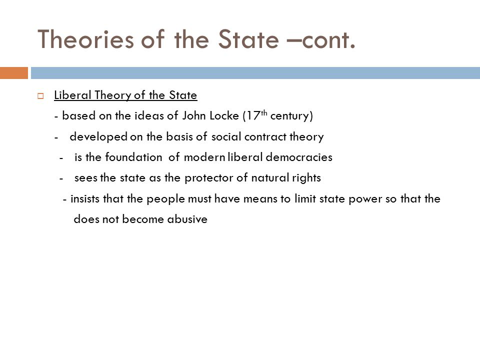Theories of the State –cont.