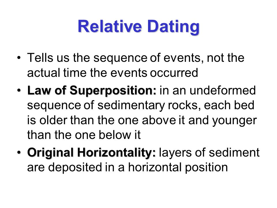 relative dating of rocks and events There are two main ways to determine the age of a rock, these are relative dating and absolute dating relative dating relative dating is used to determine the relative order of past events by comparing the age of one object to another.