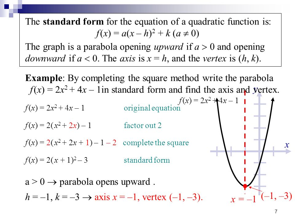 Quadratic Function in Standard Form