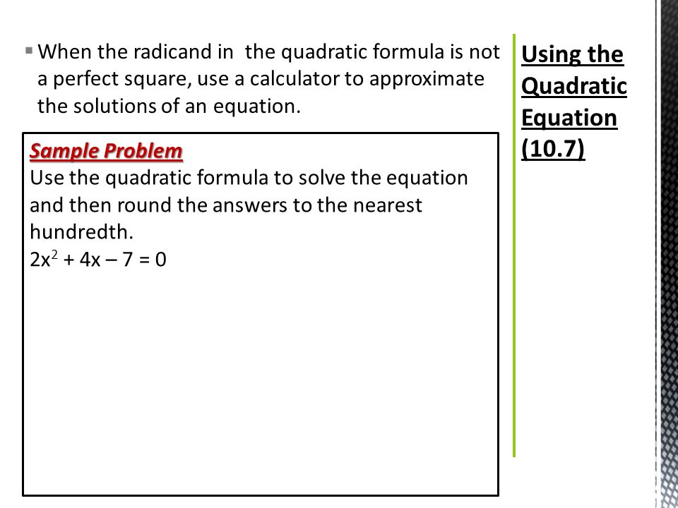 how to use quadratic formula when a is negative