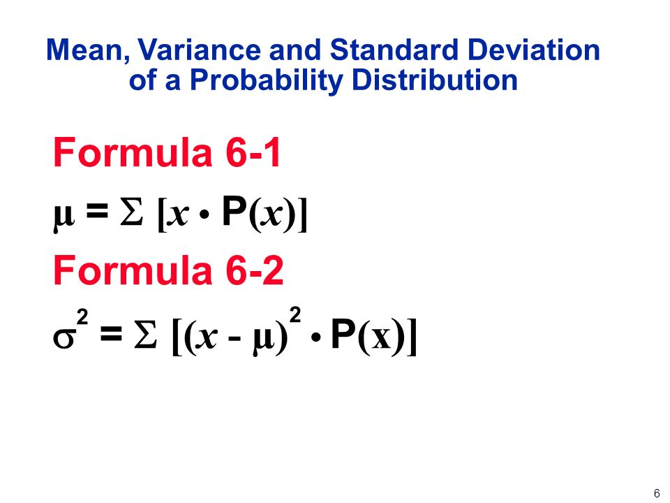 the mean variance and standard deviation