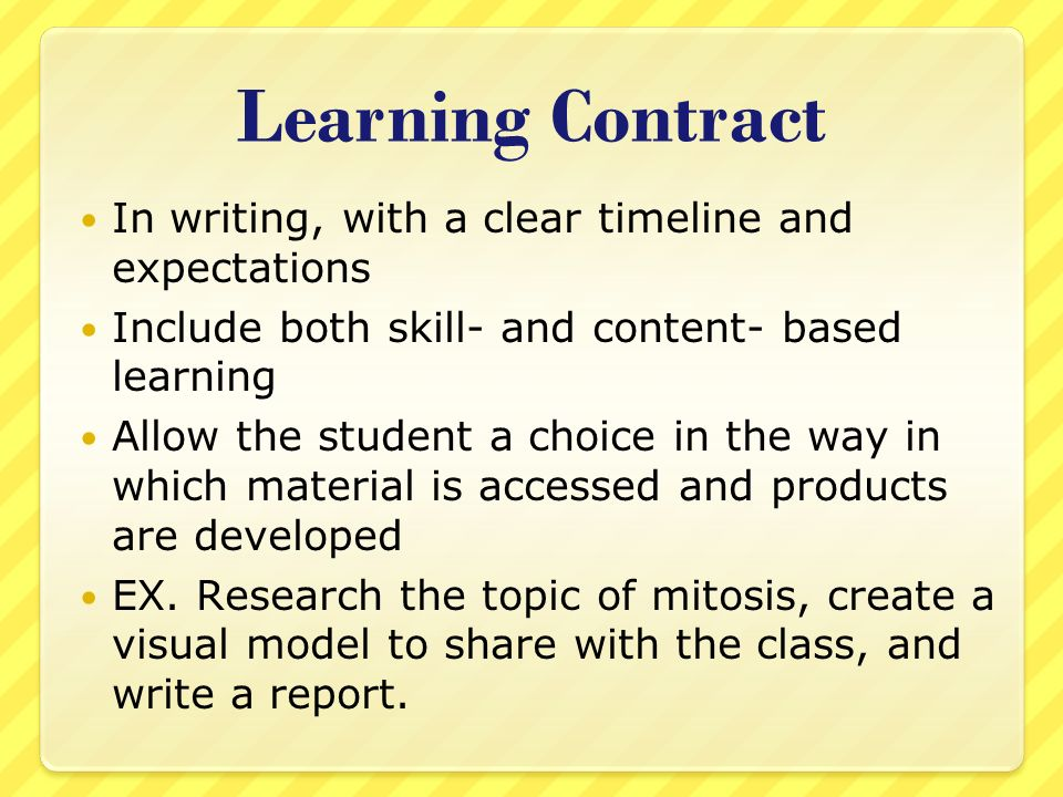 learning contracts I'm starting a new program in the spring and one of the first things that we will be tasked with is the creation of a 'xyz learning contract' after a bit of digging in the search engines i see that.