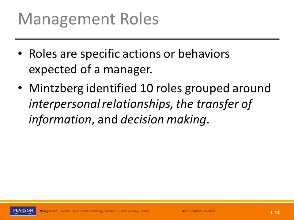 Management Roles Roles are specific actions or behaviors expected of a manager.