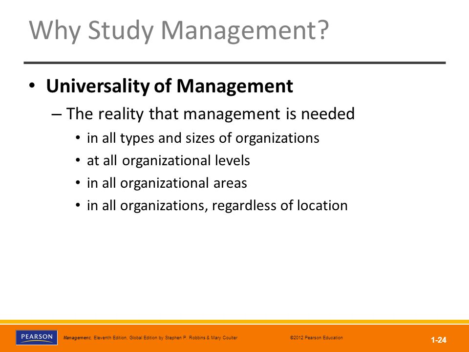Why Study Management Universality of Management