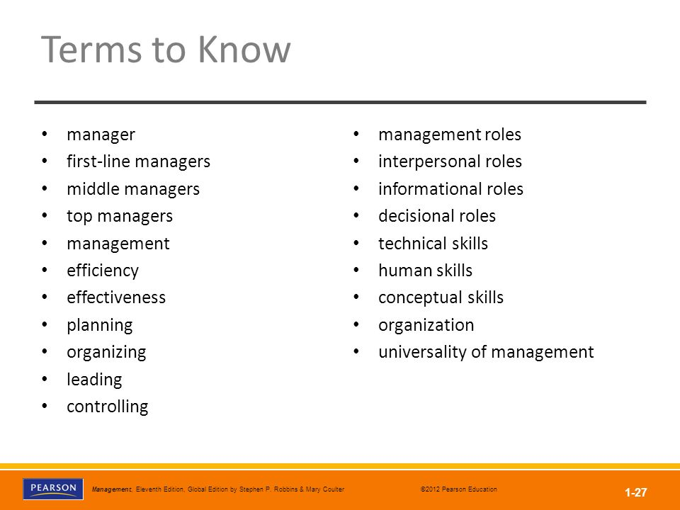 Terms to Know manager first-line managers middle managers top managers