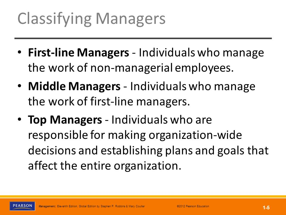 Classifying Managers First-line Managers - Individuals who manage the work of non-managerial employees.