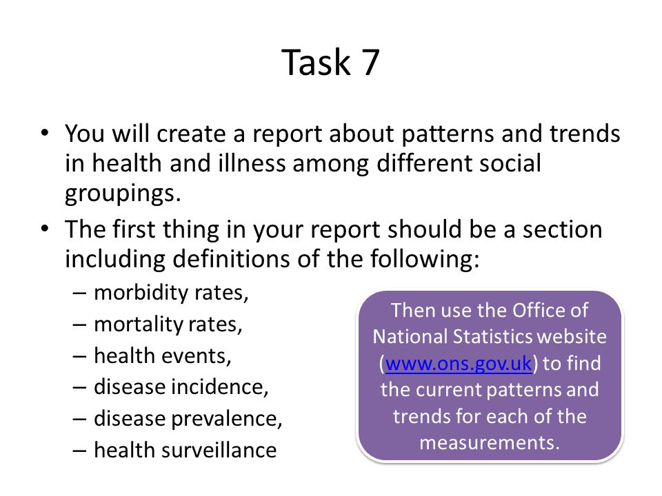 Task 7 You will create a report about patterns and trends in health and illness among different social groupings.