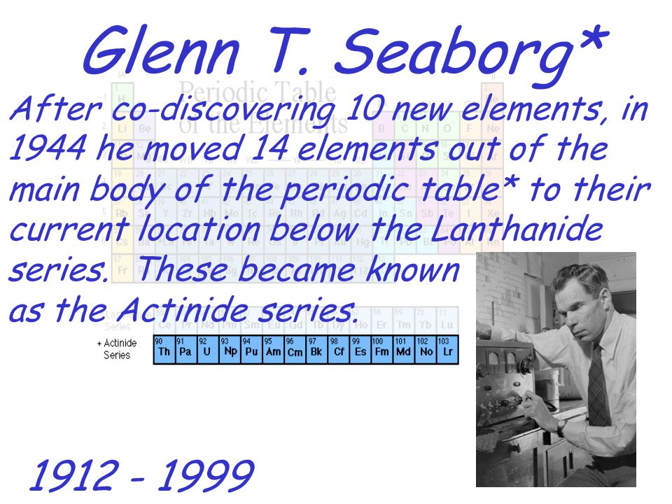 Periodic Table glenn seaborg contributions to the modern periodic table : The History of the Modern Periodic Table - ppt download