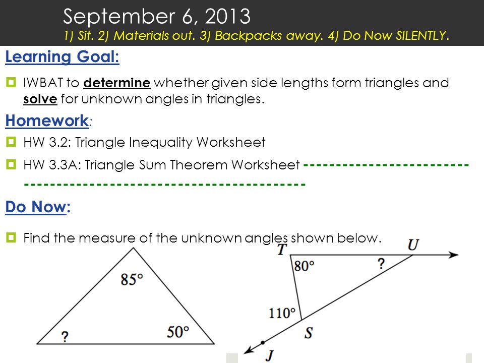 September 6 Sit 2 Materials out 3 Backpacks away ppt download – Triangle Inequalities Worksheet