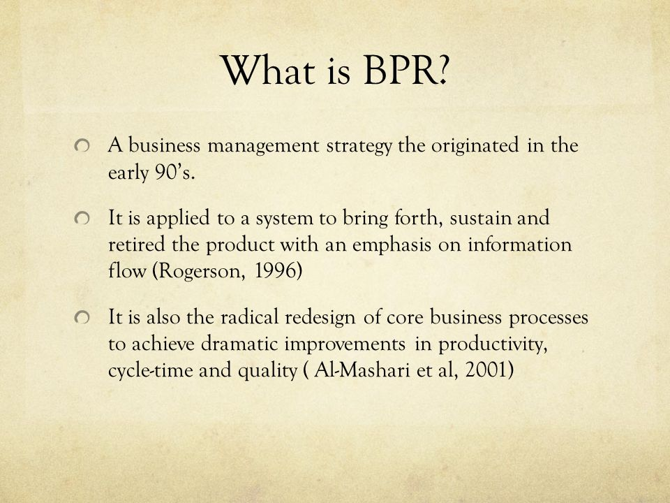 bpr and productivity The new science of sales force productivity dianne  but the cheapest and most effective route is usually to increase productivity as much as possible through.