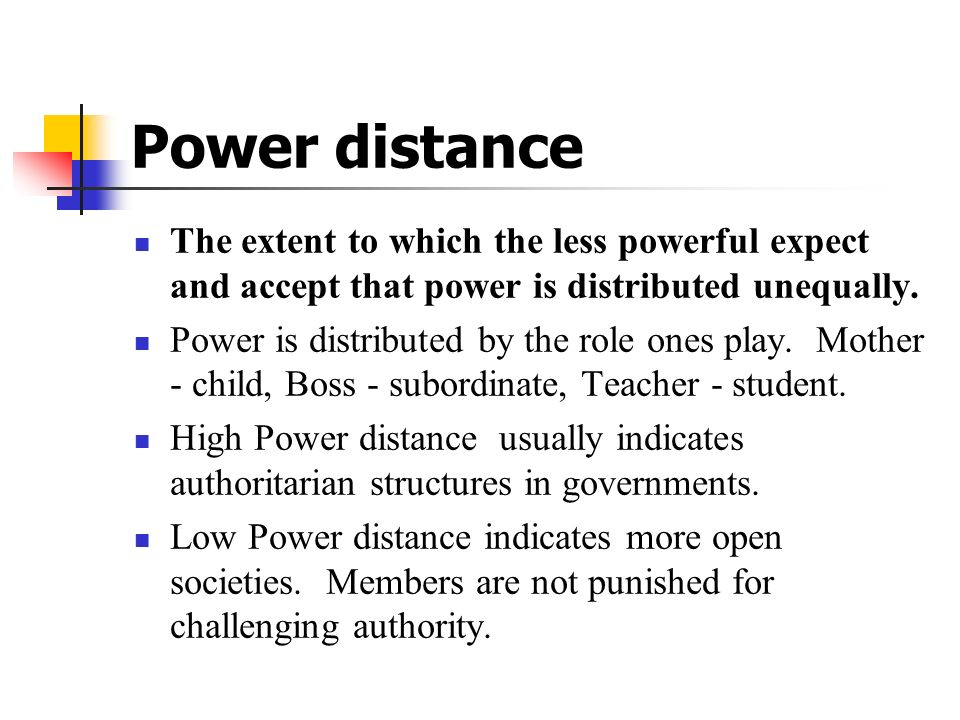 Power distance The extent to which the less powerful expect and accept that power is distributed unequally.