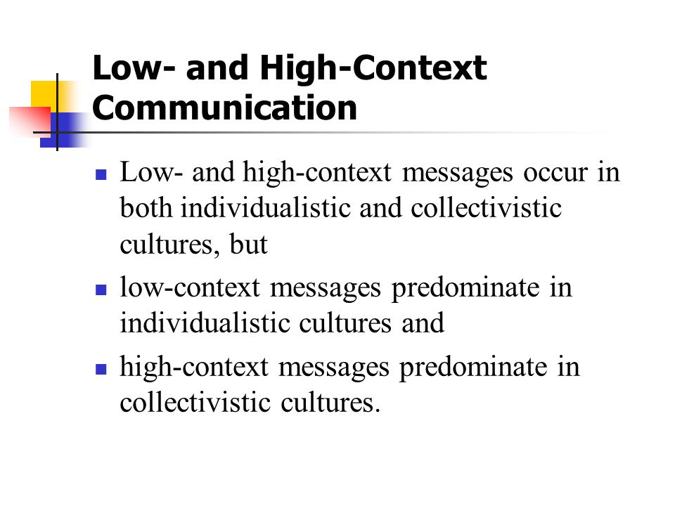 Low‑ and High‑Context Communication