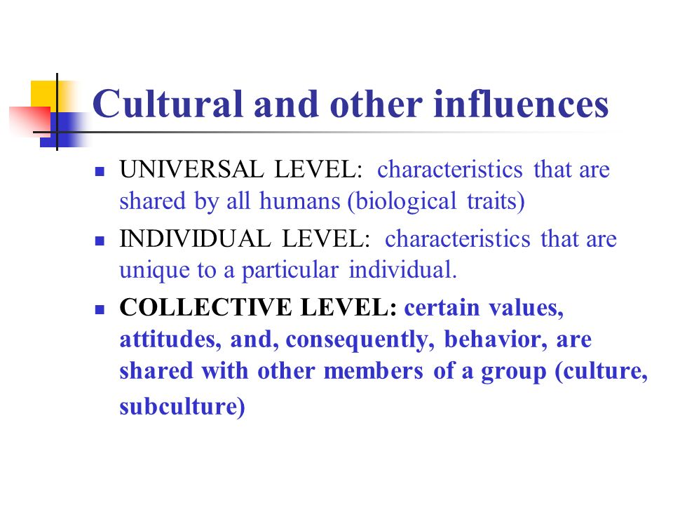 Cultural and other influences