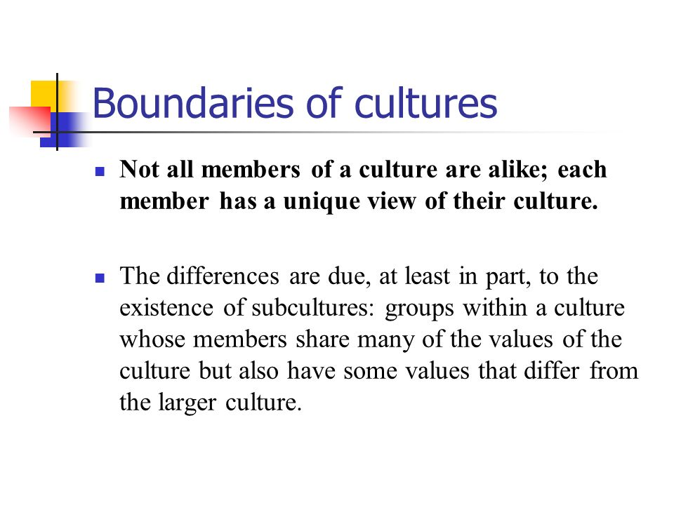Boundaries of cultures