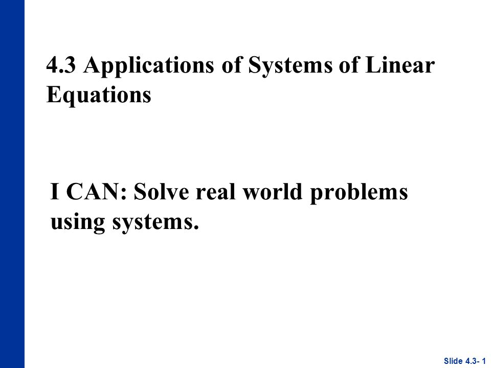 43 Applications Of Systems Of Linear Equations Ppt Download
