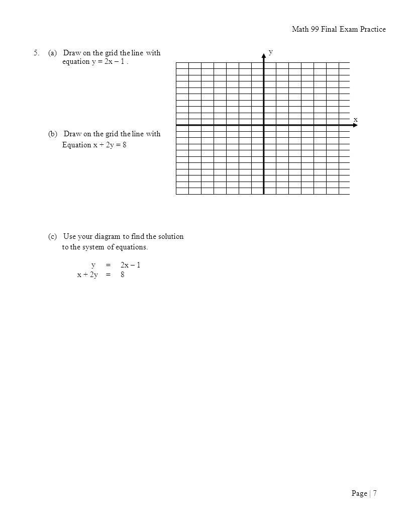 By Drawing The Line Y On The Grid Solve The Equations : Math final exam practice ppt download