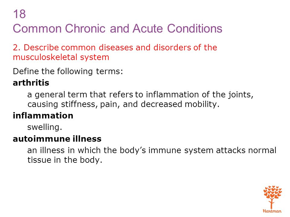 2. Describe common diseases and disorders of the musculoskeletal system