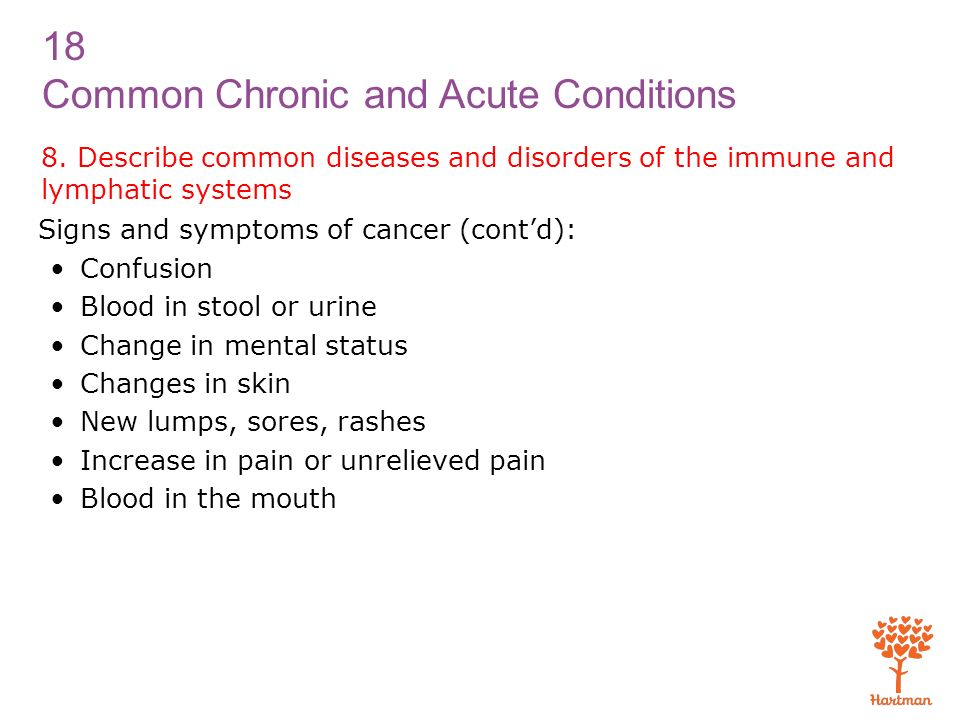 8. Describe common diseases and disorders of the immune and lymphatic systems