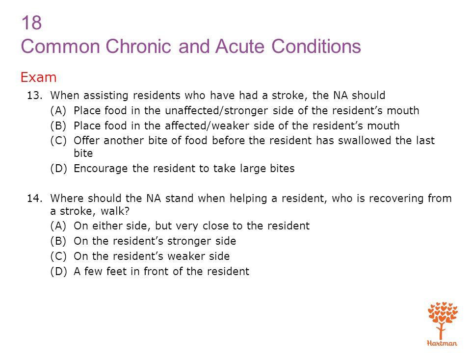 Exam When assisting residents who have had a stroke, the NA should