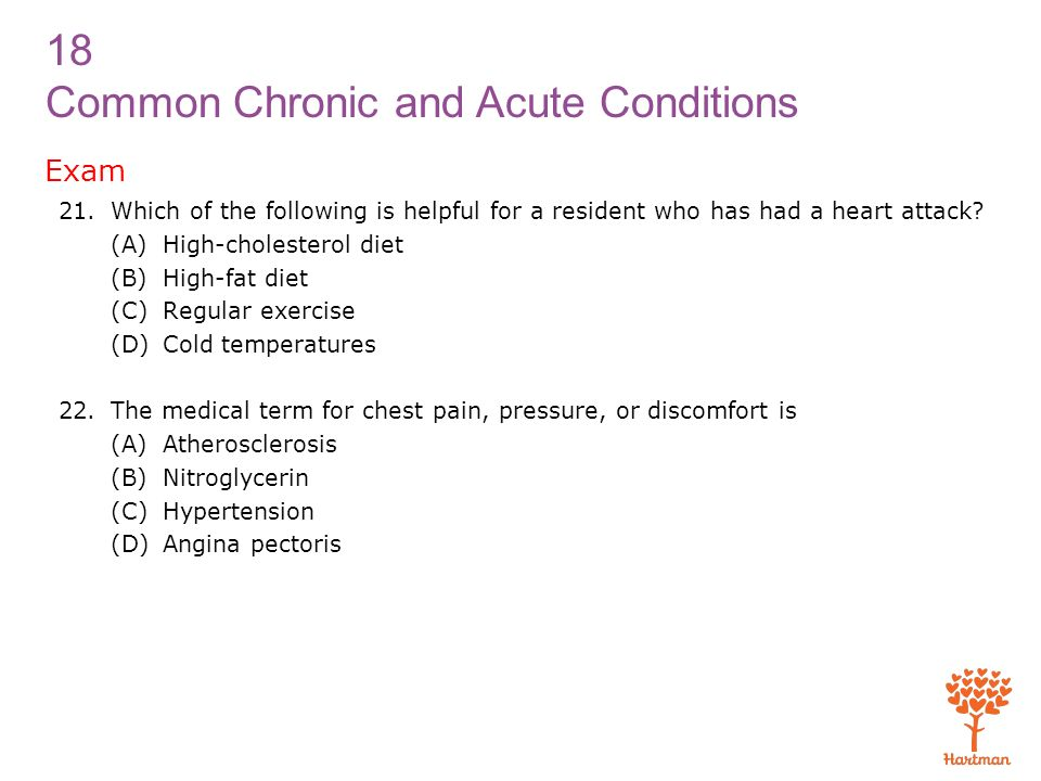 Exam Which of the following is helpful for a resident who has had a heart attack (A) High-cholesterol diet.