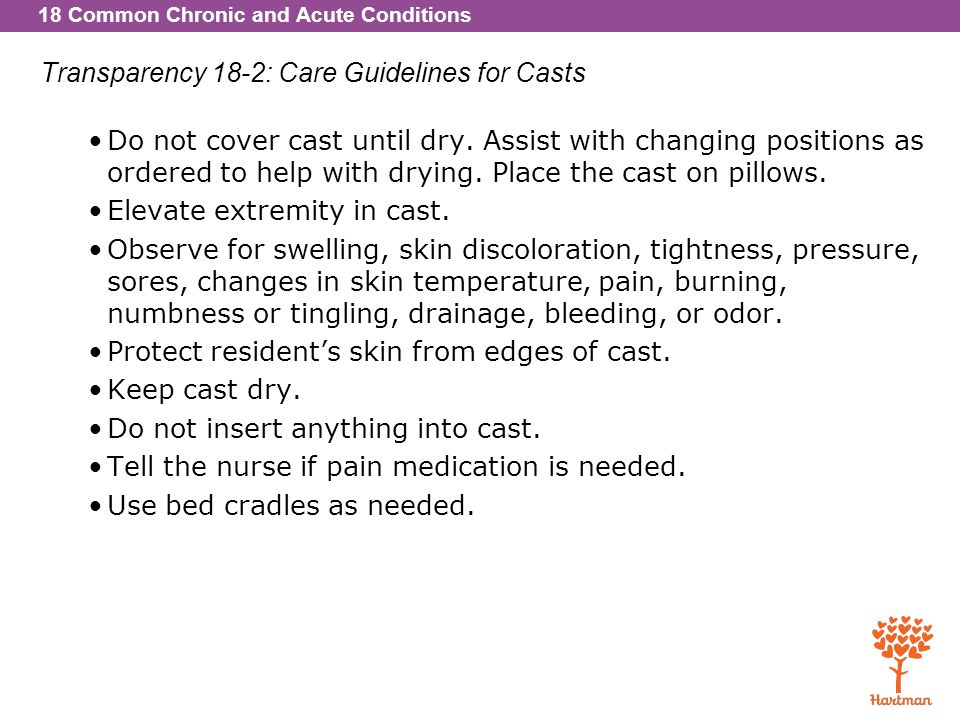 Transparency 18-2: Care Guidelines for Casts