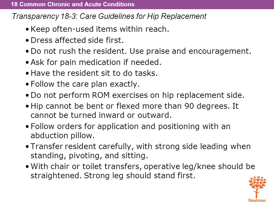 Transparency 18-3: Care Guidelines for Hip Replacement