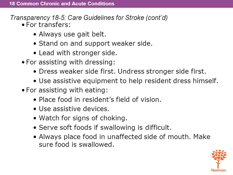 Transparency 18-5: Care Guidelines for Stroke (cont'd)
