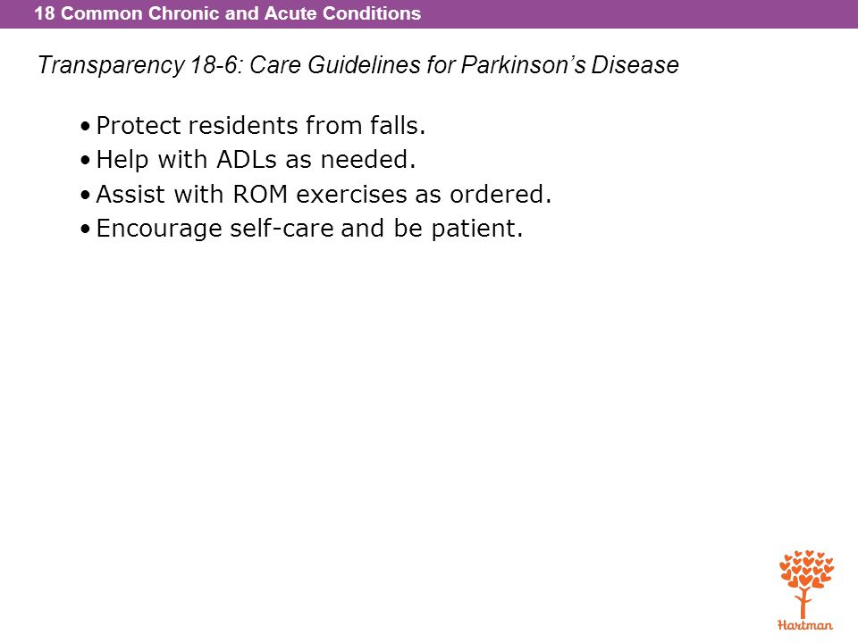 Transparency 18-6: Care Guidelines for Parkinson's Disease