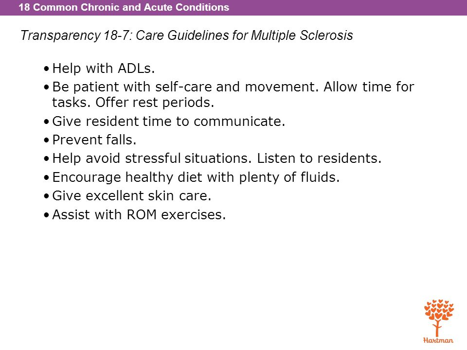Transparency 18-7: Care Guidelines for Multiple Sclerosis