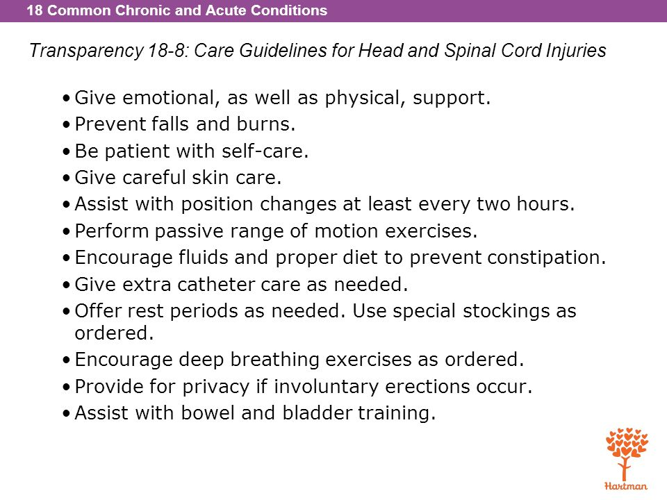 Transparency 18-8: Care Guidelines for Head and Spinal Cord Injuries