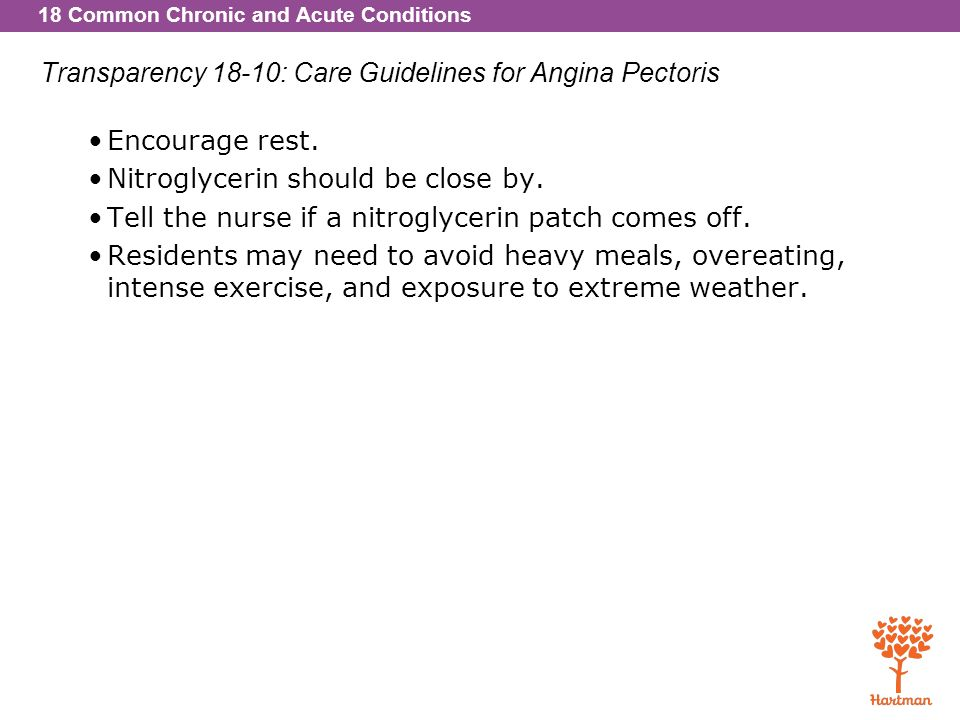 Transparency 18-10: Care Guidelines for Angina Pectoris