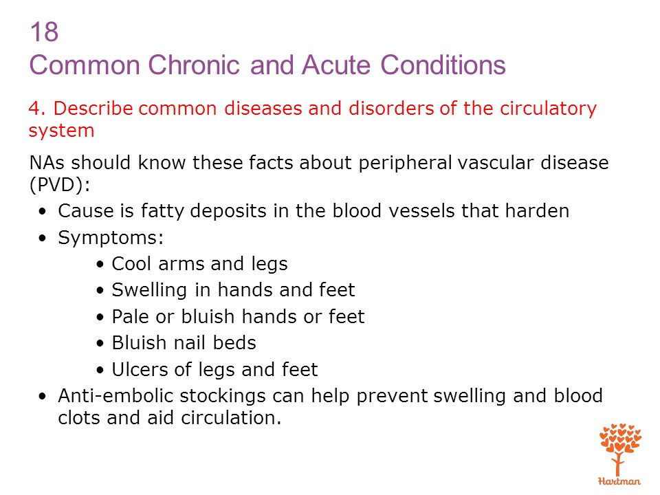 4. Describe common diseases and disorders of the circulatory system